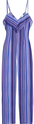 La Perla - Striped Stretch-silk Jumpsuit - Blue $1,000 thestylecure.com