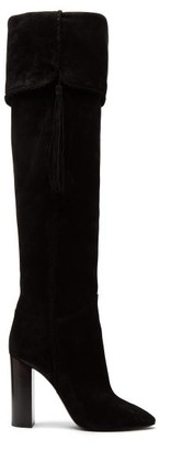 Saint Laurent Meurice Tassel Embellished Suede Boots - Womens - Black