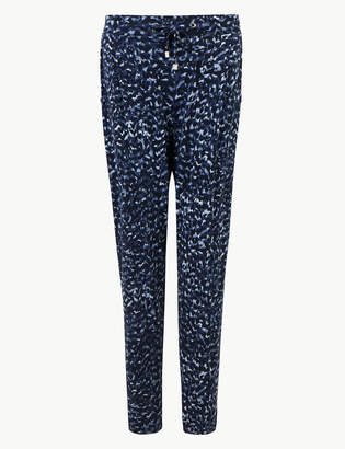 Marks and Spencer Printed Jersey Ankle Grazer Peg Trousers