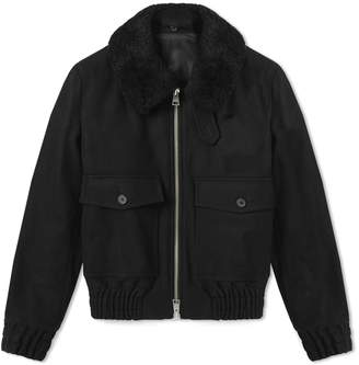 Ami Shearling Collar Wool Jacket