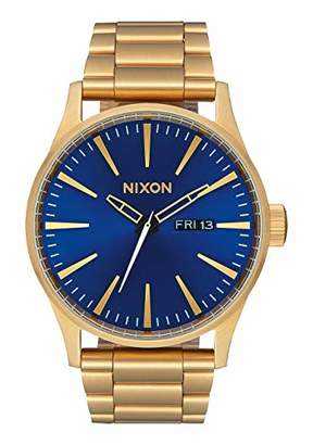 Nixon Sentry SS A369 - All Gold/Blue Sunray - 113M Water Resistant Men's Analog Classic Watch (42mm Watch Face