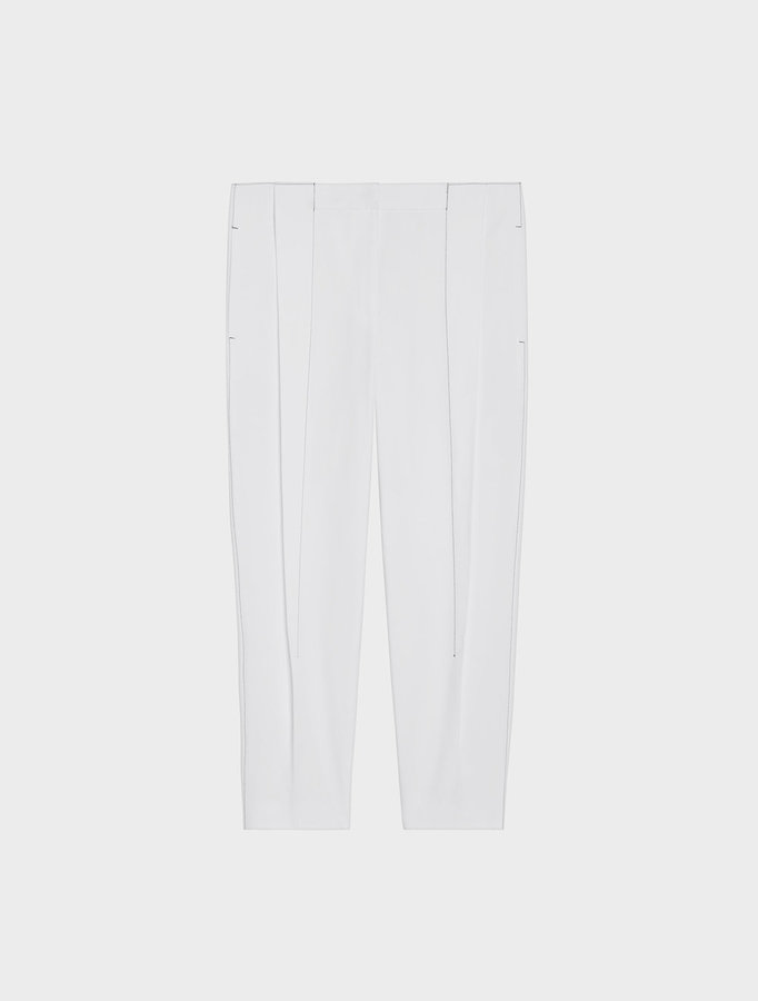 DKNY Pleat Front Cropped Pant With Contrast Stitching