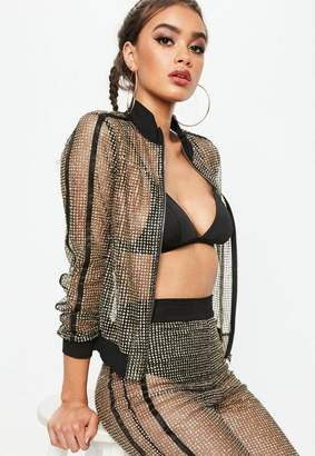Missguided Tall Black Embellished Track Jacket
