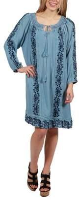 24/7 Comfort Apparel 24Seven Comfort Apparel Willow Denim Long Sleeve Peasant Dress