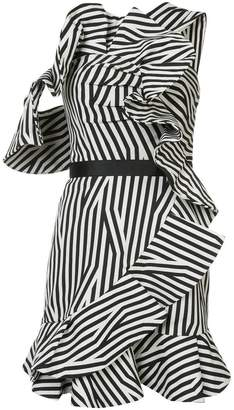 Self-Portrait striped frill embellished dress