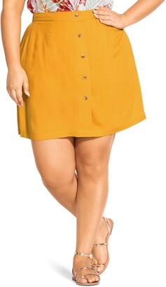 City Chic Button Down Miniskirt