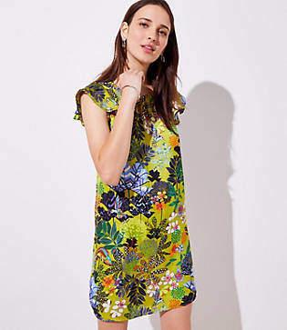 LOFT Petite Flutter Satin Dress