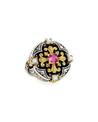 Konstantino Ornate Mother-of-Pearl Ring with Crystal Quartz Over Pink Sapphire & Tourmaline
