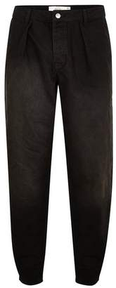 Topman Mens Washed Black Pleated Baggy Jeans