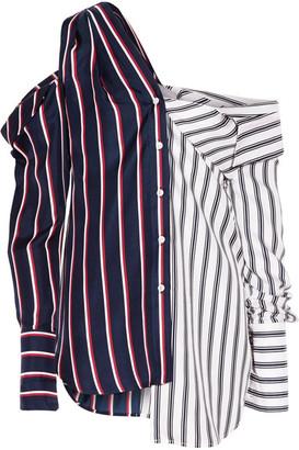 Monse - Cold-shoulder Striped Silk-satin Shirt - Midnight blue $1,290 thestylecure.com