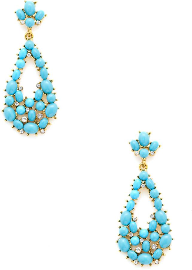 Kenneth Jay Lane Turquoise Cabochon Teardrop Earrings
