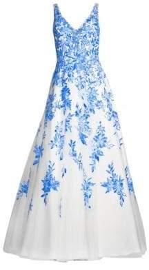 Basix II Black Label Floral Chiffon Floor-Length Gown