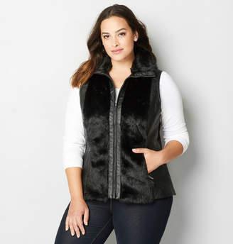 Avenue Faux Leather Faux Fur Trimmed Vest