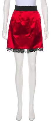 Dolce & Gabbana Satin Mini Skirt w/ Tags