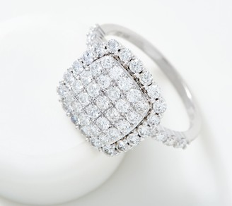 Affinity Diamond Jewelry Affinity 14K Gold Cushion Pave' Diamond Ring, 1.50 cttw