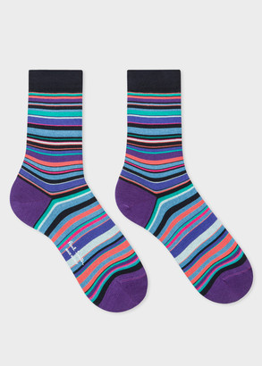 Paul Smith Women's Dark Navy Socks With Violet And Blue Stripes