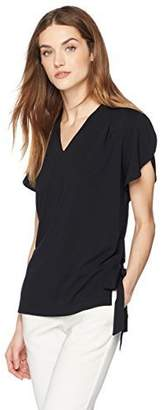 Painted Heart Women's Short Sleeve V Neck Matte Jersey Blouse with Side Ties at Hem