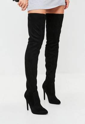 Missguided Black Pointed Over The Knee Faux Suede Boots