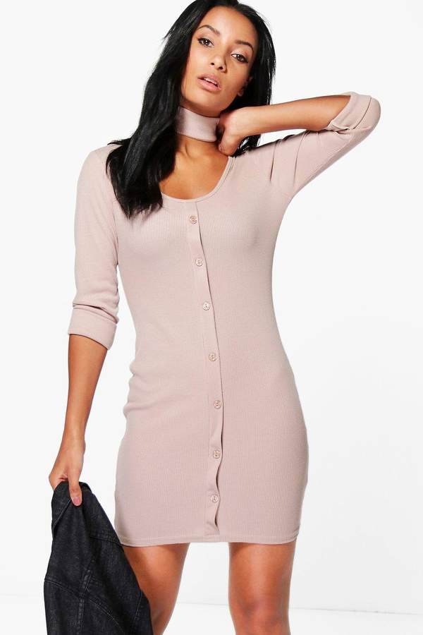 boohoo Abbey Rib Button Choker Bodycon Dress