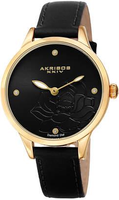 Akribos XXIV Women's Leather Diamond Watch