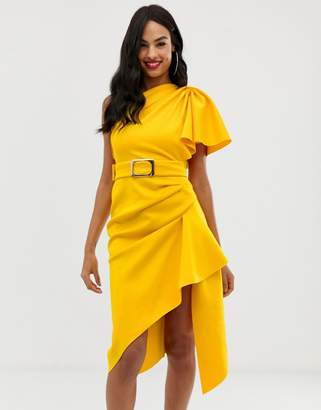 Asos Design DESIGN one shoulder belted pencil dress with tuck detail