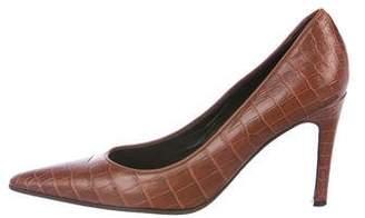 Bottega Veneta Crocodile Pointed-Toe Pumps