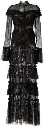 sheer lace ruffled maxi dress