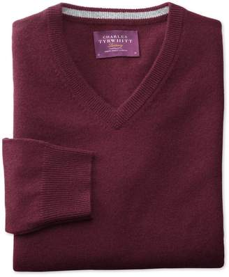 Charles Tyrwhitt Wine Cashmere V-Neck Sweater Size Small