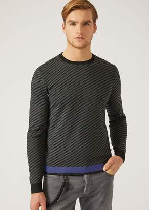 Emporio Armani Jumper In Jacquard With Two Colour Links