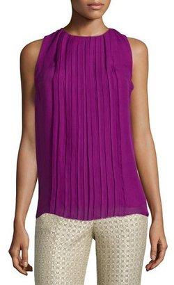 Etro Sleeveless Jewel-Neck Plisse Top, Magenta $1,055 thestylecure.com