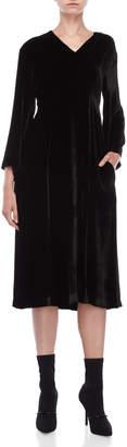 Tela Velvet V-Neck Empire Waist Midi Dress