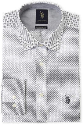 U.S. Polo Assn. White Square Dot Regular Fit Dress Shirt