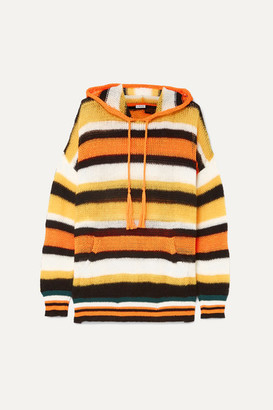 Loewe Paula's Ibiza Hooded Striped Knitted Sweater - Orange