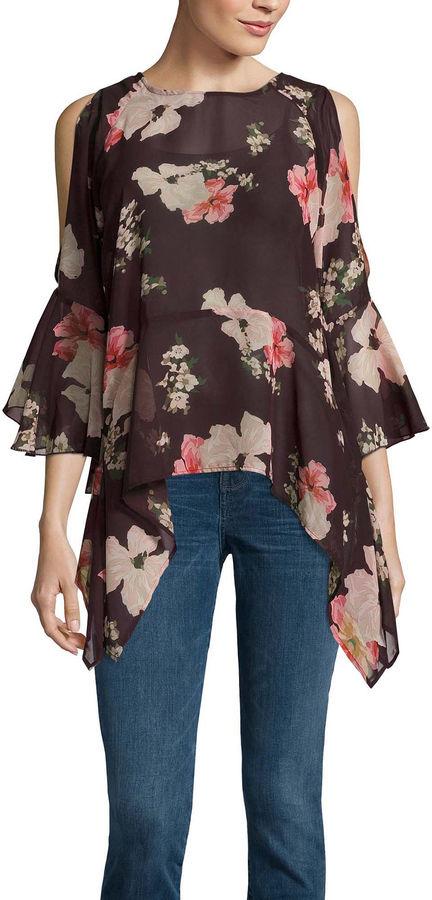 BUFFALO JEANS Buffalo Jeans 3.4 Sleeve Floral Ruffle Cold Shoulder Top