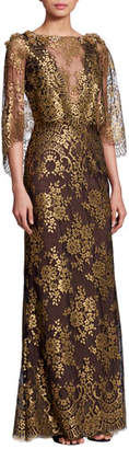 Marchesa Bateau-Neck 3/4-Sleeve Metallic Chantilly Lace Evening Gown