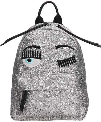 Chiara Ferragni Silver Glitter Leather Small Flirting Backpack