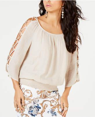 Thalia Sodi Smocked Lattice-Sleeve Top