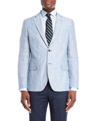 Nautica Blue Stripe Briella Linen Suit Jacket