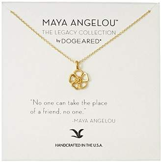 Dogeared Maya Angelou No One Can Take The Place of A Friend Cutout Flower Charm Pendant Necklace