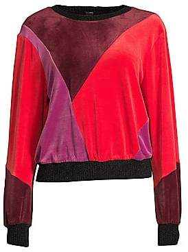 Splendid Women's Velvet Patchwork Crewneck Sweater
