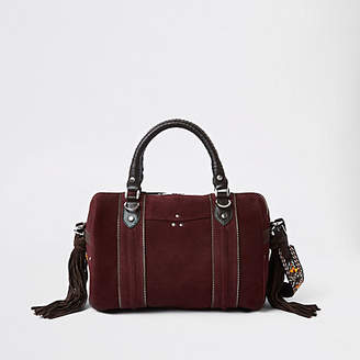 River Island Dark red leather cross body bowler bag