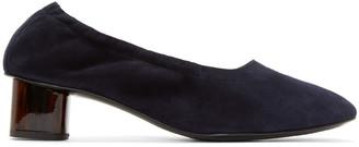 Robert Clergerie Navy Suede Pocket Heels $495 thestylecure.com