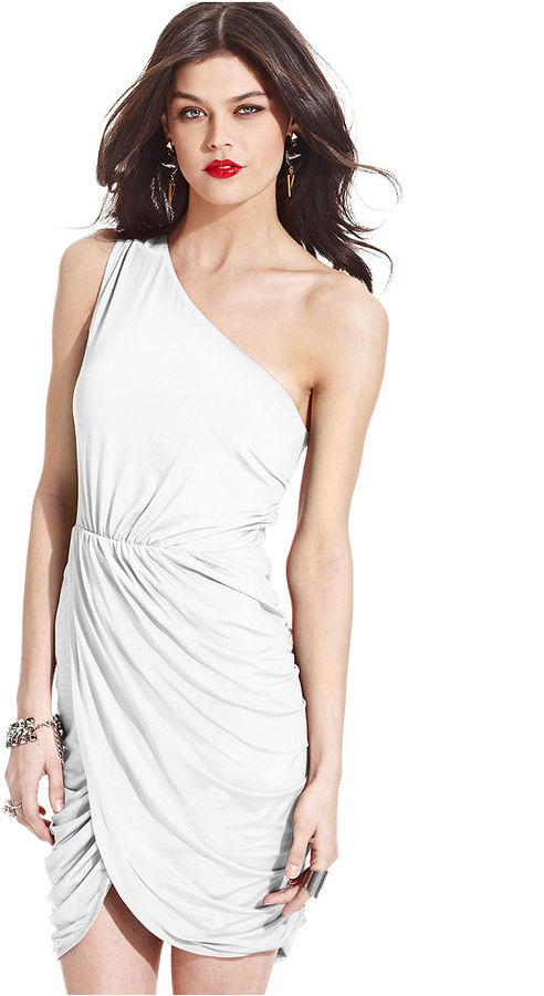 Tempted Juniors' One-Shoulder Tulip-Skirt Dress