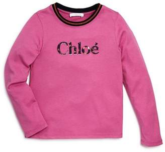 Chloé Girls' Embroidered Logo Top - Big Kid
