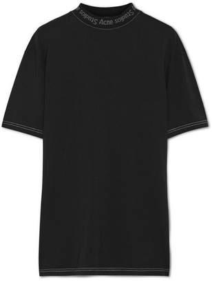 Acne Studios - Gojina Oversized Intarsia-trimmed Cotton-jersey T-shirt - Black