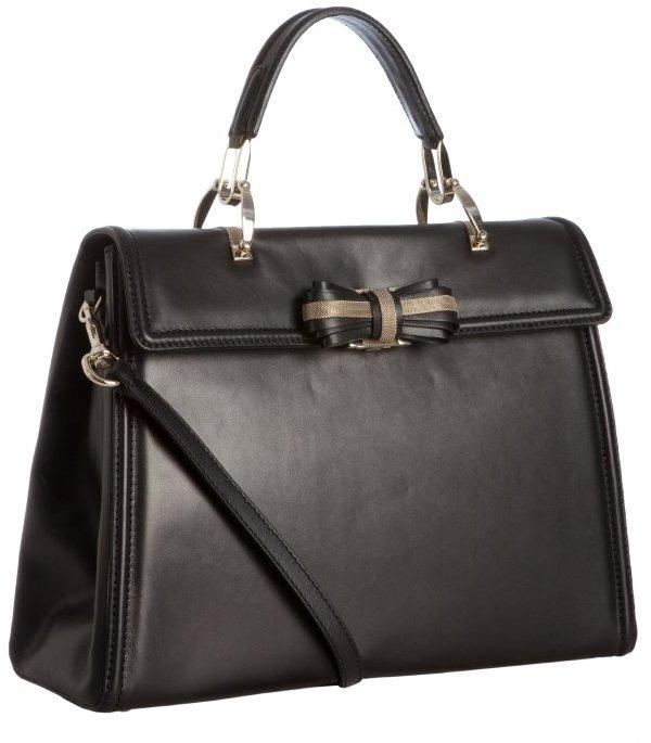 Valentino black leather bow detail framed satchel