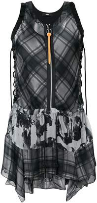 Diesel plaid flared sleeveless dress