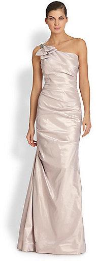 Teri Jon by Rickie Freeman One-Shoulder Taffeta Gown