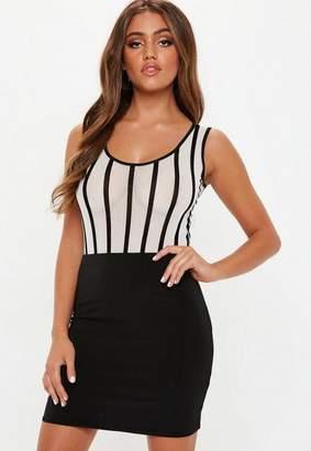 Missguided White Stripe Sheer Mesh Sleeveless Bodysuit