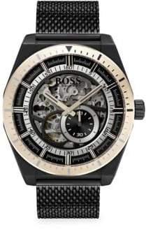 HUGO BOSS Signature Timepiece Skeleton Ionic Plated Black Steel Bracelet Watch